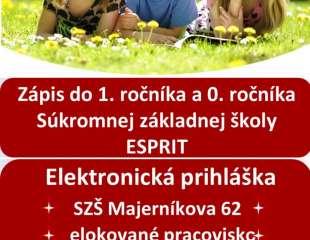 Online zápis do 1. a 0. ročníka SZŠ ESPRIT - nové!!!